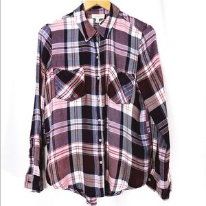 Lucky Brand Woman's M Plaid Button Down Flanel